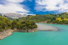 Rakaia-Schlucht und südliche Alpen Stockfotografie