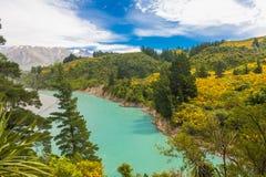 Rakaia-Schlucht und südliche Alpen Stockfotos