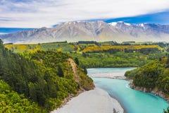 Rakaia wąwóz i Południowi Alps Zdjęcia Stock