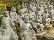 The 500 Rakan statues. Some of 500 Rakan statues in Daisho-in temple in Itsukushima Royalty Free Stock Image