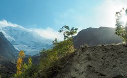 Rakaposhi Glacier Mountain Peak, Nagar, Gilgit–Baltistan, Pakistan. Rakaposhi Glacier Mountain Peak In The Karakoram Mountain Range, Nagar, Gilgit–Baltistan Stock Photos