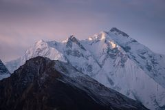 Rakaposhi mountain peak in Hunza valley, Gilgit Baltistan, Pakis. Tan, Asia Royalty Free Stock Photo