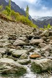 Rakaposhi view point area with small water streams running on rocks stock photos