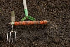 Rake on the black earth in the garden Stock Photo