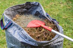With rake the dirt from the lawn royalty free stock photos