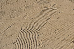 Rake marks in a bunker royalty free stock photos