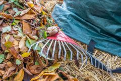 Leaf pile with rake and leaf bag stock photo