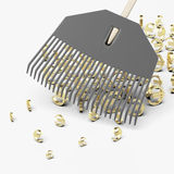 Rake scooping up euro symbols Royalty Free Stock Photo