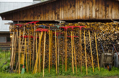 Rake at a shed wall Stock Photography