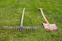 Rake and shovel Royalty Free Stock Image