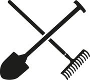Rake with shovel crossed. Vector vector illustration