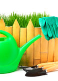 Rake, shovel, rubber gloves, watering can against the wooden fen Stock Photo