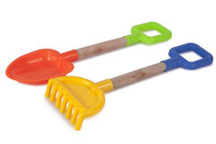 Rake and shovel toys Royalty Free Stock Images