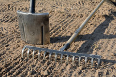 Rake and spade on soil. Rake and spade on loosened soil closeup Royalty Free Stock Photo