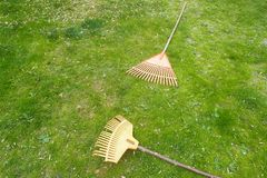 Rake lying on the grass royalty free stock photos