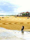 Raked beach, Bridlington, Yorkshire. The cleaning and raking of the beach leaving a pattern at Bridlington, North Yorkshire, England, UK Stock Photography