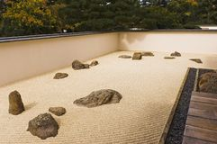Raked gravel Japanese meditation garden. A gravel and stone meditation garden in the Nikka Yuko Japanese Garden home in Lethbridge, Alberta, Canada, with Royalty Free Stock Images