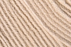 Raked sand of a japanese garden. Close-up Royalty Free Stock Photography