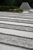 Raked sand lines and cone. Raked sand and gravel resulting in parallel lines and truncated sand cone at the Buddhist temple Ginkakuji, Silver Temples in Stock Images