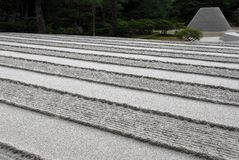 Raked sand lines and cone. Raked sand and gravel resulting in parallel lines and truncated sand cone at the Buddhist temple Ginkakuji, Silver Temples in Royalty Free Stock Photos