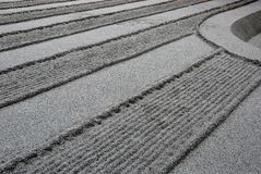 Raked sand lines. Raked sand and gravel resulting in parallel lines at the Buddhist temple Ginkakuji, Silver Temples in Higashiyama, Kyoto, Japan Stock Images