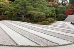 Raked sand zen garden Stock Photos