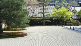 Raked zen garden. Raked gravel field in zen garden (Tenryu-ji, Kyoto stock image