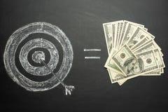 rakend het doel op een zwarte raad en een gelijke aan heel wat geld, ons dollarsconcept om het doel te bereiken royalty-vrije stock foto