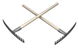 Rakes Crossed. Metal rake garden tools two crossed 3d illustration, isolated, horizontal, over white Royalty Free Stock Images