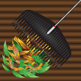 Rakes and fallen leaves. Agricultural tool for collecting fallen leaves. Vector illustration Stock Photos