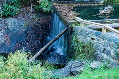 Rakes Mill Pond Dam. And waterfall on the Blue Ridge Parkway in Floyd County, Virginia, USA Stock Images
