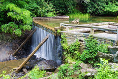 Rakes Mill Pond Dam. And waterfall on the Blue Ridge Parkway in Floyd County, Virginia, USA Stock Photography