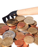 Rakes and pile of coins. Stock Image