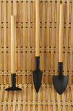 Rakes and shovels for replanting closeup on wooden Royalty Free Stock Images