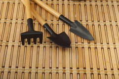 Rakes and shovels for replanting closeup Royalty Free Stock Photos