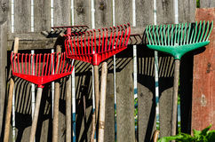 Rakes. Which are placed against a fence in the garden Royalty Free Stock Photo