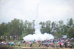Raket aan de hemel. Stock Foto