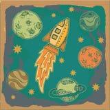 Raket, de kinderachtige illustratie van het science fictionbeeldverhaal Royalty-vrije Stock Foto's
