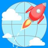 Raket die rond de planeet vliegen Stock Afbeelding