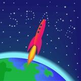 Raket die in ruimte vliegt royalty-vrije stock afbeelding