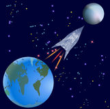 Raket die van Aarde op een onbekende planeet vliegen vector illustratie