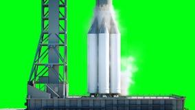 Raket för startanimeringen Utrymmelanseringssystem Realistisk animering 4K Grön skärmisolat arkivfilmer