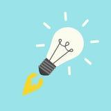 Raket i formlightbulb stock illustrationer