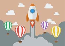 Raket lancering over de hete luchtballons Stock Afbeeldingen
