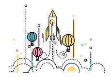 Raket lancering over de hete luchtballons stock illustratie