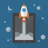 Raket lancering van tablet Royalty-vrije Stock Afbeeldingen