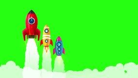3 raket lanserar i olik stil, skepp med rök på den gröna skärmvideoen vektor illustrationer