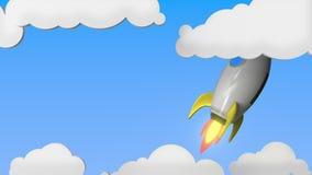 Raket med flaggan av Belgien flyger i himlen Belgisk släkt loopable rörelsebakgrund för framgång eller för rymdprogram stock illustrationer