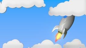 Raket med flaggan av Japan flyger i himlen Japansk släkt loopable rörelsebakgrund för framgång eller för rymdprogram vektor illustrationer