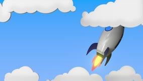 Raket med flaggan av nyazeeländskt flyger i himlen Nationell släkt loopable rörelsebakgrund för framgång eller för rymdprogram vektor illustrationer